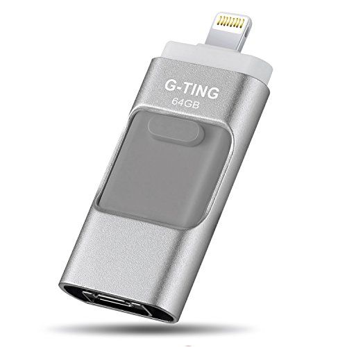USB Flash Drives for iPhone 64GB Pen-Drive Memory Storage, G-TING Jump Drive Lightning Memory Stick External Storage, Memory Expansion for Apple IOS Android Computers (Silver)  ✔【EASY AND SPEEDY TRANSFER】Directly plugs into your lightning port and USB port; experience up to 80 MB/s reading and 40 MB/s writing speed with USB port. (the SD Card is free)  ✔【STRONG BACK STORAGE】Amazing transfer speed using its dual 8-Pin and standard USB connector, Automatically Record Your Photo/Video to ...