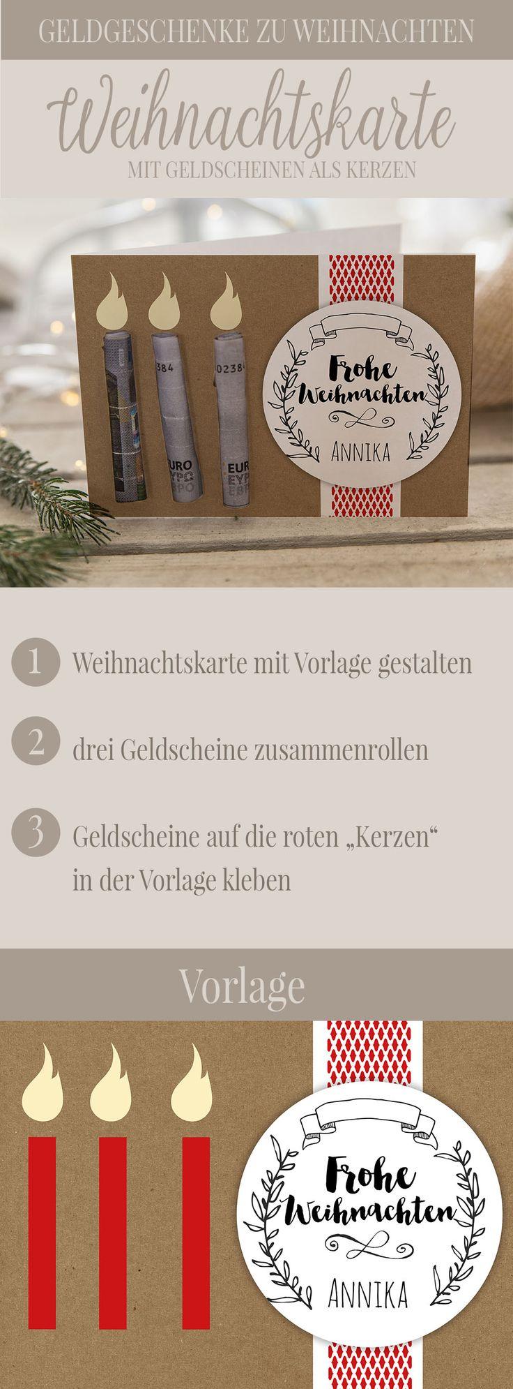 """Weihnachtskarte mit """"Geldkerzen"""". Geldgeschenke zu Weihnachten."""