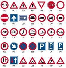 met verkeersborden kan je zien wat het betekent en van waar je moet opletten.
