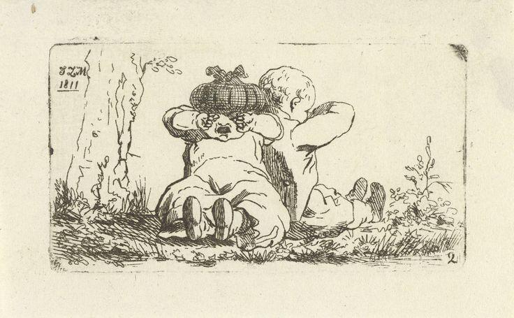 Jean Zacherie Mazel | Twee huilende kinderen, Jean Zacherie Mazel, 1811 | Een meisje en een jongen zitten met de rug tegen elkaar in het gras. Zij wrijven beiden in hun ogen.