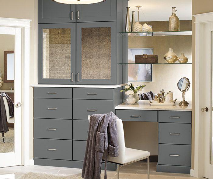 Make Up Vanity Utility Cabinet  Schrock Cabinets Elston door Moonstone Finish  #schrock #cabinets #shaker #vanity #makeupvanity #tallcabinet #moonstone #bluegray #