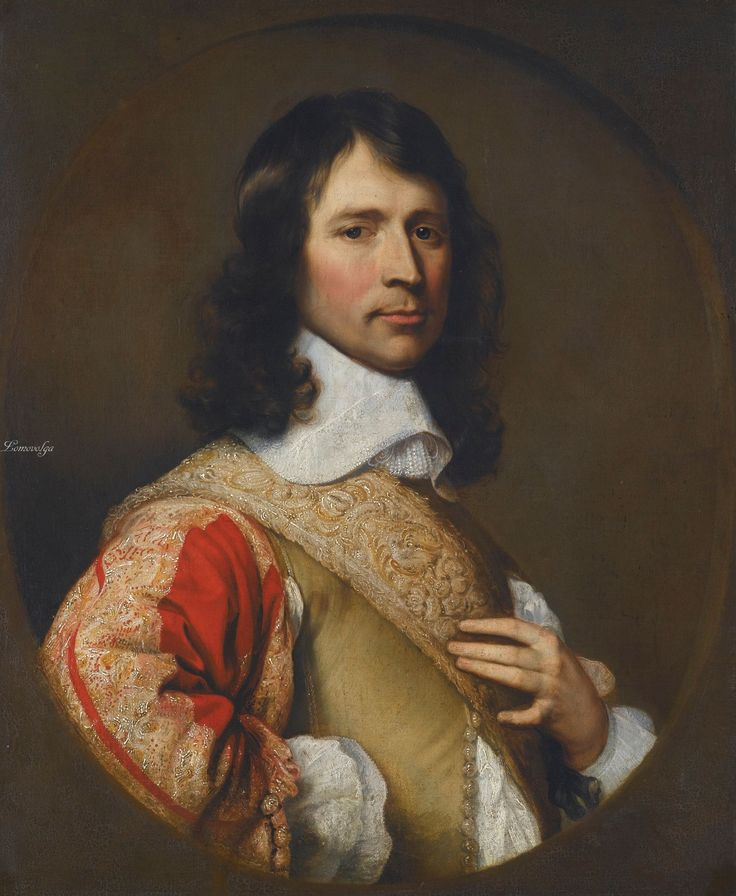 Adriaen Hanneman THE HAGUE CIRCA 1601-1671 PORTRAIT OF AN OFFICER, POSSIBLY ROBERT DAVIES (1616-1666) oil on canvas, in a painted oval