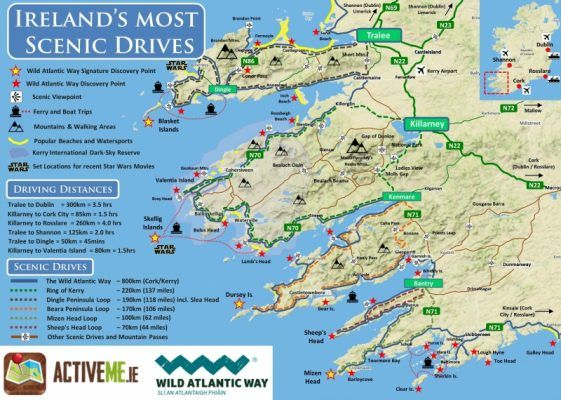 Dingle Map Of Ireland.Ring Of Kerry Scenic Drive Cycle Route Map Kerry Ireland
