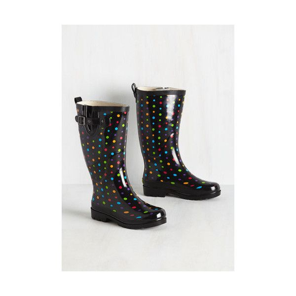 Quirky More Showers To Ya! Rain Boots ($40) ❤ liked on Polyvore featuring shoes, boots, black, boot - bootie, flat boot, black wellington boots, flat ankle boots, flat boots, ankle boots and black rubber boots