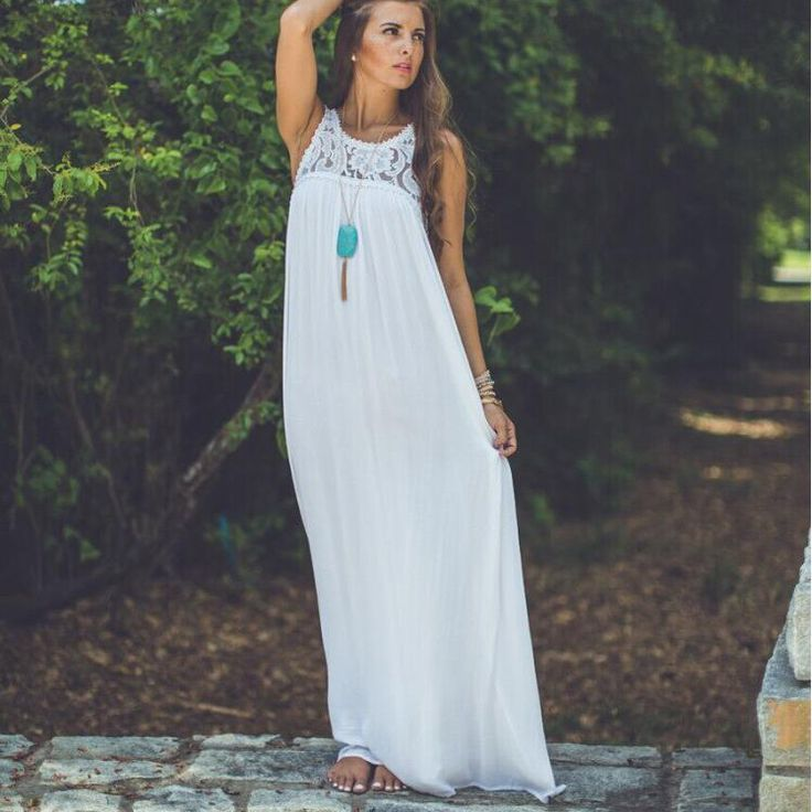 Pure Color Straps Chiffon Long Beach Party Dress