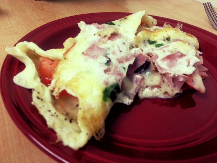 Egg White Omelet. Green Onion, Ham, Tomato, Partly Skimmed Mozzarella Cheese, and Mushrooms.