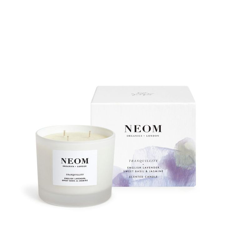 NEOM Candles: Tranquility Luxury Scented Candle - english lavender, sweet basil, and jasmine