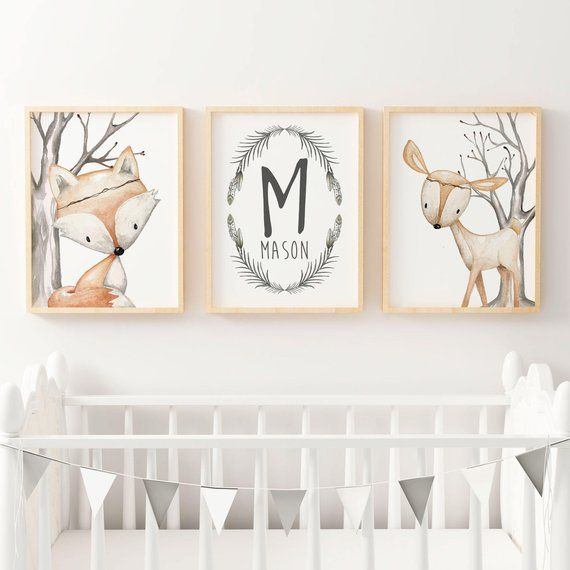 Woodland Nursery Prints | Forest Animal Wall Art | Woodland Nursery Decor | Boys Personalised Name Print | Fox & Deer Nursery Print | Boho