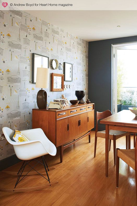 "Mid-century modern abode in Camberwell, London. Home of designers Keith Stephenson and Mark Hampshire of the shop Mini Moderns. Love the furniture and arrangement of vintage finds. From ""desire to inspire"" blog."