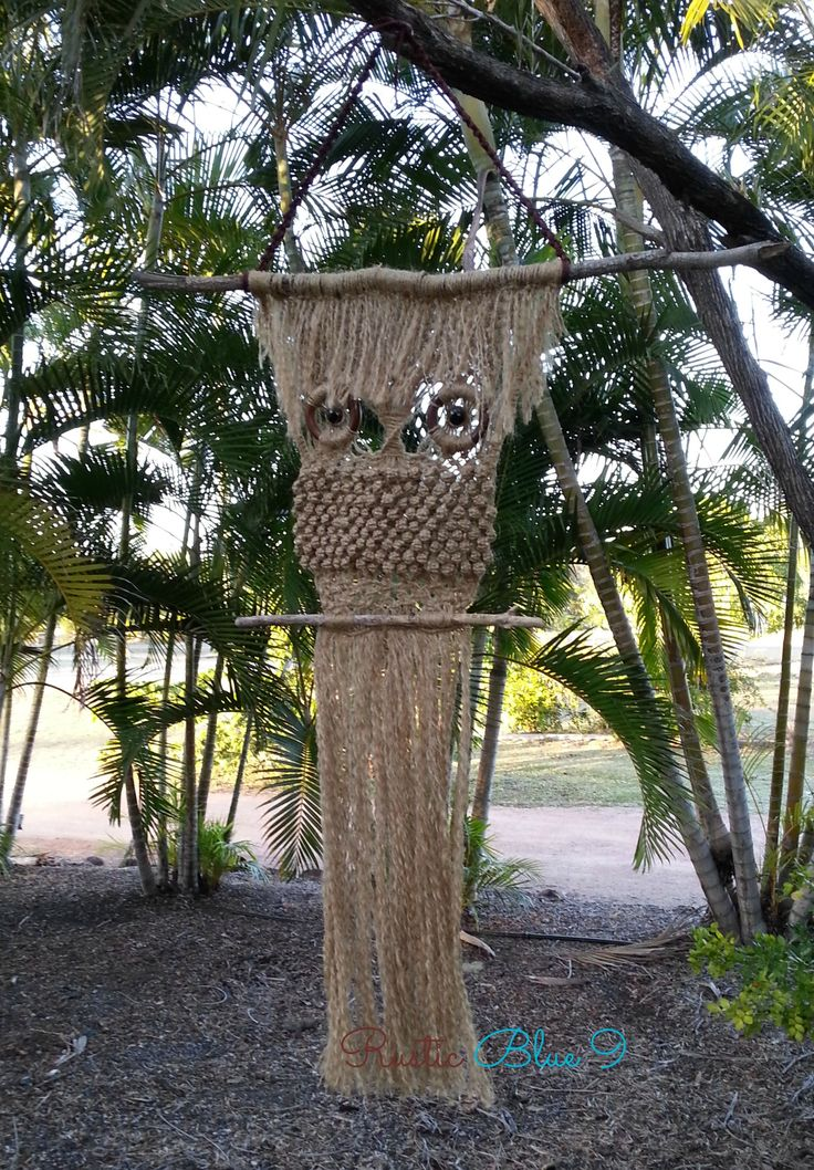 Really Rustic Owl - custom order made from jute with yard sticks, recycled curtain rings, marine grade cord and eyes - www.facebook.com/rusticbluenine