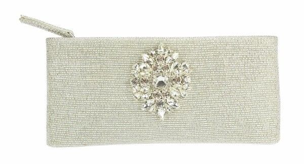 Silver Bruggle Bead Embellished Clutch These beautiful beaded evening clutch purses are hand made with exceptional detail and satin lining.