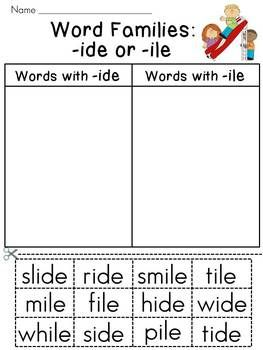 Word Families Sort Literacy Station {Entire Year Set}