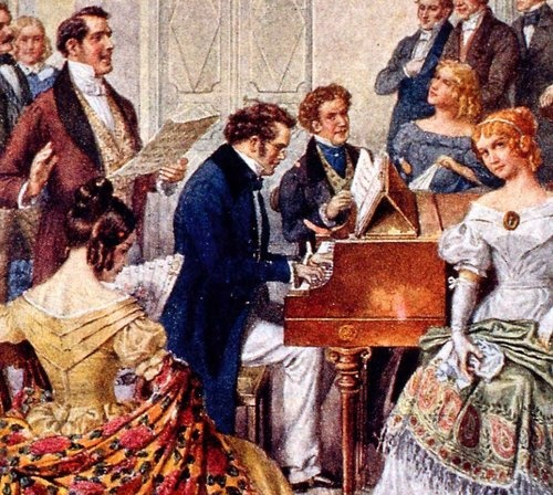 Franz Schubert at the piano while a friend sings one of his lieder.