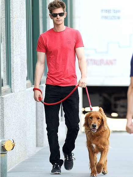 Andrew Garfield and his golden retriever. Um... WHAT?! One of my favorite actors just got that much cuter.