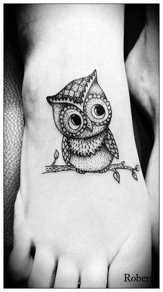Foot Tattoos for girls. Owl tattoo