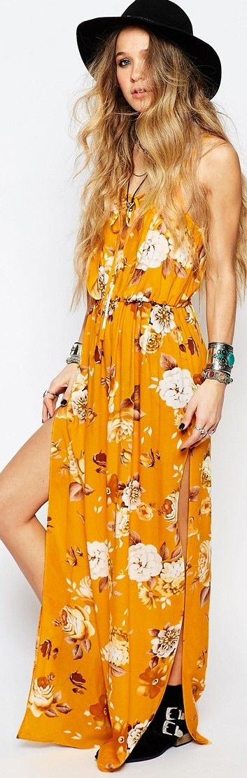 Reclaimed Vintage Maxi Cami Dress In Festival Floral Print
