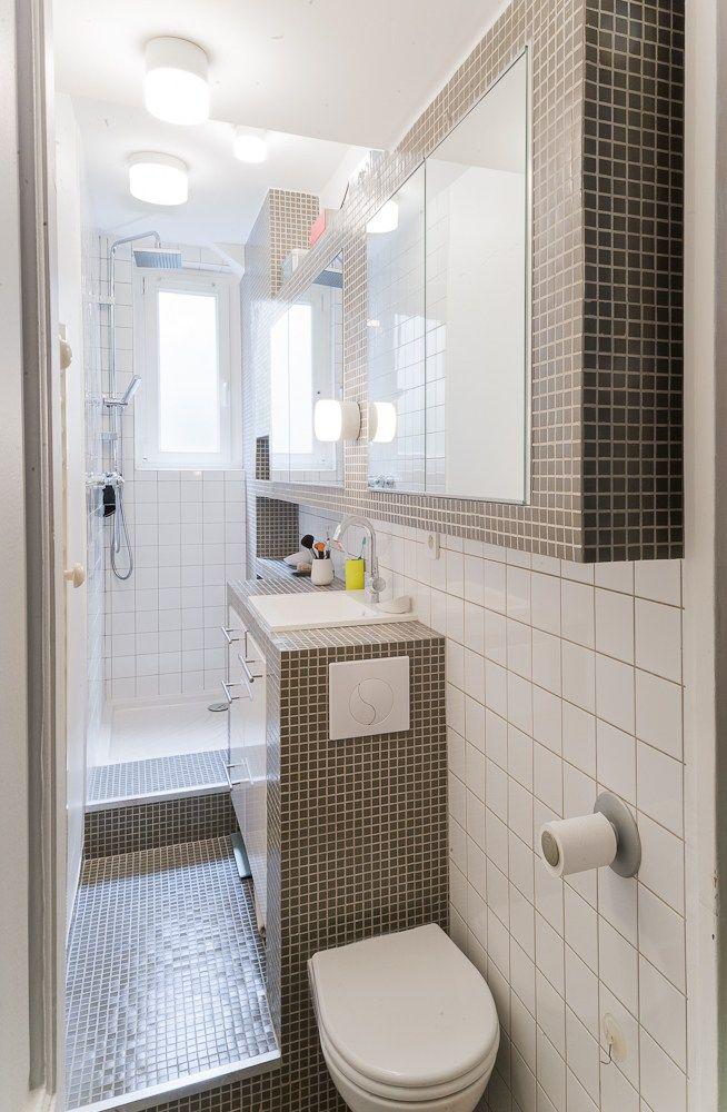 Pix - 2012 - 3,5m2  Dans 90cm de large, il fallait recréer une salle de bain avec une douche spacieuse, un plan de travail confortable, de nombreux r