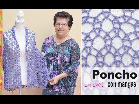 Poncho con mangas en tejido recto a crochet - Tejiendo Perú - YouTube
