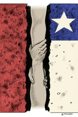 Dibujo sobre la ayuda a los 33 mineros chilenos.