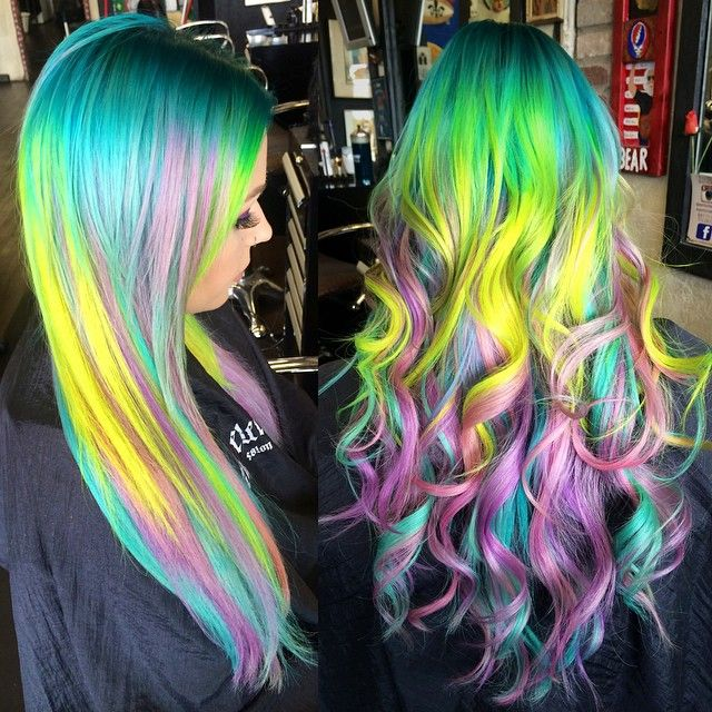 Bright pastel sand art hair color using Arctic Fox hair color by stylist Amanda King @manduhhxoxo