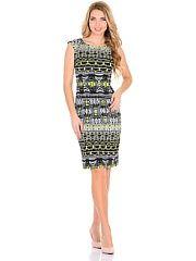 Платье PF  Красивое платье карандаш миди-длины приталенного силуэта из ткани на основе хлопка( хлопок - сатин) с красивым рисунком . За счет состава ткани из натуральных волокон вы будете чувствовать себя комфортно .Юбка со шлицей . В боковом шве платья имеется потайная молния . В нем платье Вы будете чувствовать себя элегантно . Отличный вариант на любой случай. Рост модели - 180 см.. Платье PF промокоды купоны акции.