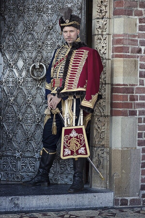 Regency Hussar costume reproduction, ca. 1810. Costume maker: Angela Mombers.  Picture by Henk van Rijssen.