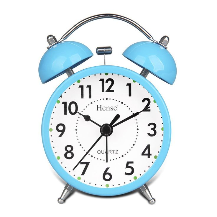 HENSE Classical Retro Twin Bell Mute Silent Quartz Movement Non Ticking Sweep Second Hand Bedside Desk Analog Alarm Clock with Nightlight and Loud Alarm HA01 (Blue): Amazon.ca: Tools & Home Improvement