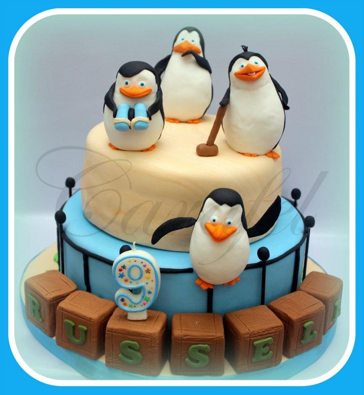 Penguin of Madagascar rotating cake