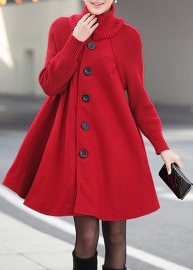 Button Closure Long Sleeve Red Swing Coat   lulugal.com - USD $38.33