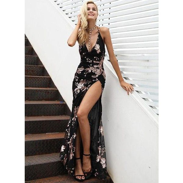 Deep V Front Slit Floral Sequin Gown ($47) ❤ liked on Polyvore featuring dresses, gowns, evening dresses, v neck evening gown, wrap evening dress, sexy gowns and floral print evening gown