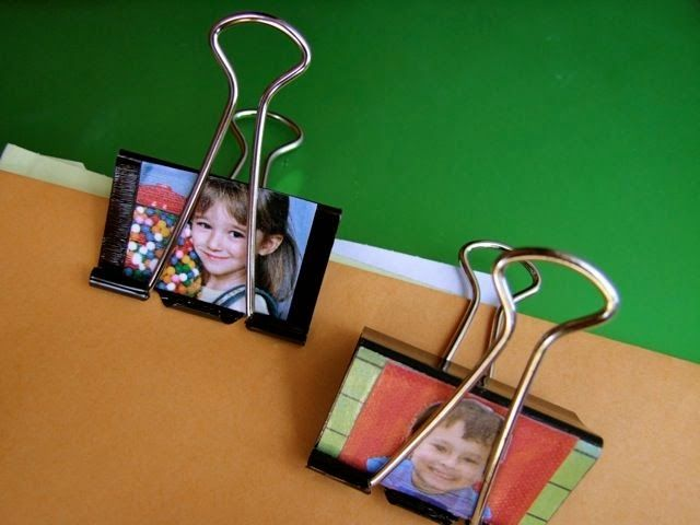 Attach student photos on binder clips to display student art, organize papers, etc.