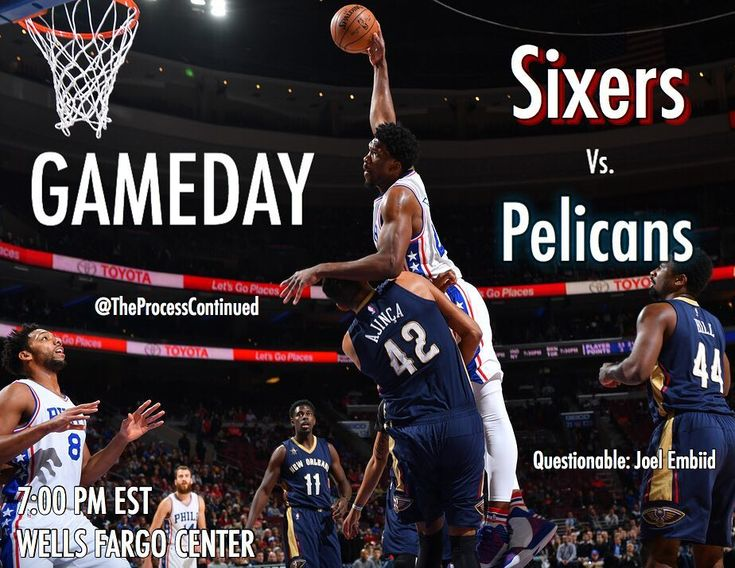 Sixers vs. #Pelicans tonight! Comment score predictions! (Get it right for a shoutout!) Key injuries:  #DeMarcusCousins: OUT (Achilles)  Joel Embiid: Questionable (Ankle)  #NBA #Sixers #76ers #JoelEmbiid #Embiid #BenSimmons #JJRedick #DarioSaric #RobertCovington #TTP #TrustTheProcess #Eagles #NFL #FlyEaglesFly #CarsonWentz #SuperBowl #MLB #Phillies #GoPhils #PhilliesNation #RhysHoskins