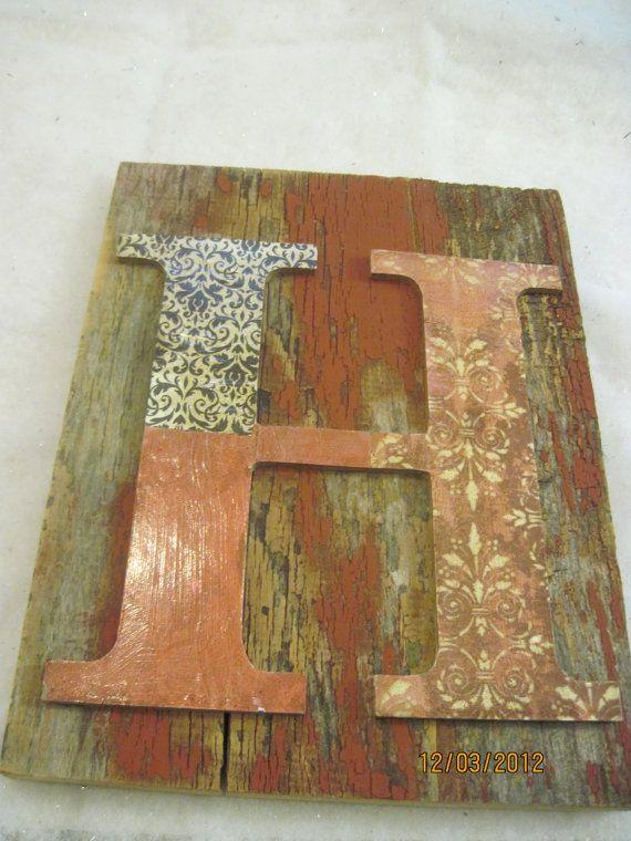 H letter barn board decor