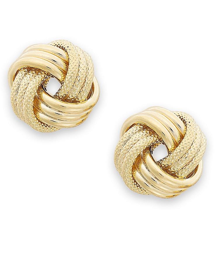 14k Gold Earrings, Triple Love Knot Stud Earrings - Earrings - Jewelry & Watches - Macy's