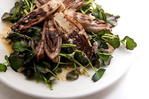 Grilled Endive and Watercress Salad from Nicole Franzen via Food52: Grilled Endive, Chee Vinagrett, Blue Cheese, Cheese Vinagrett, Cheese Vinaigrette, Food, Recipes, Chee Vinaigrette, Watercress Salad