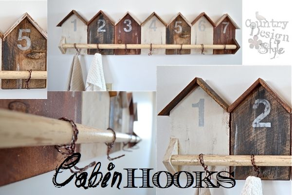 cabin hooks to be numbered. I could have guests towels or better yet, gift bags hanging from their hooks. How cute is that! I cut out numbers using the sil ...