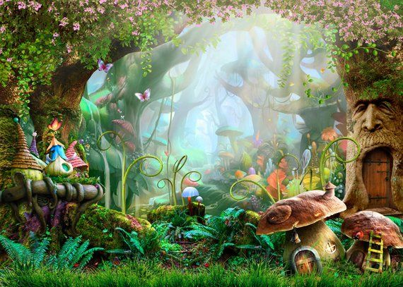Forest Fairy Castle Cartoon Photography Backdrops Mushroom