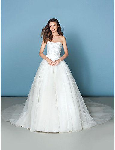 Свадебное платье ( Тюль Пышное платье Без бретелек С ультра-длинным шлейфом – USD $ 199.99