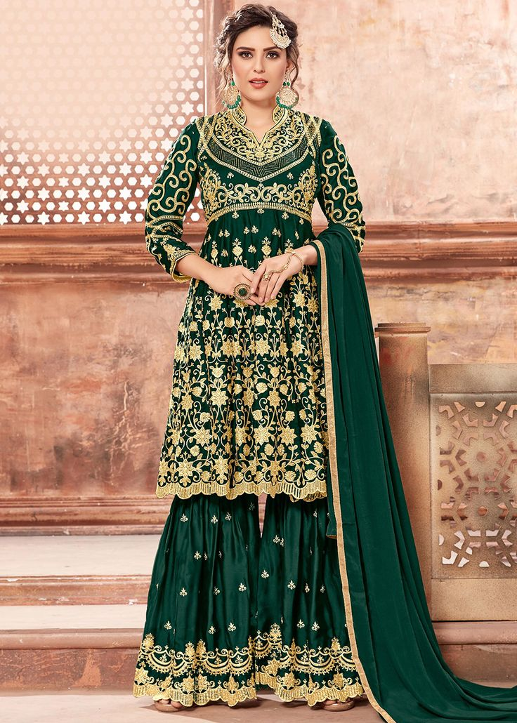 Green Heavy Embroidered Pakistani Gharara Suit in 2020