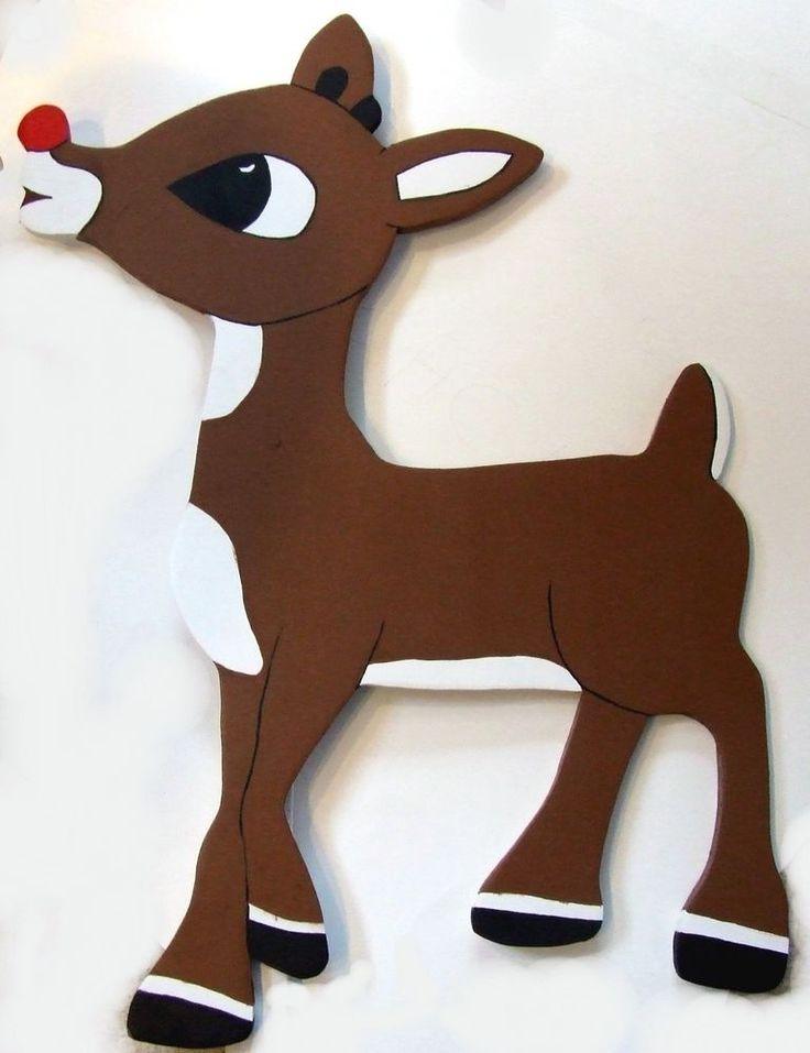 Christmas Yard Art Decoration Rudolph Red Nose Reindeer - Wood
