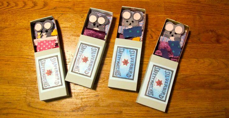 Itty bitty matchbox mice made by children at a Follow the Silver Bird Elves Christmas workshop.