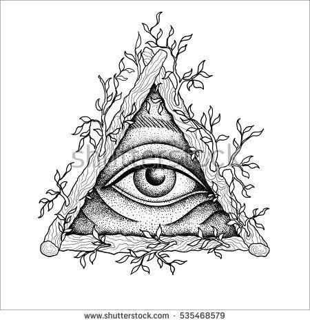 Eye of Providence. Masonic symbol. All seeing eye inside wooden triangle pyramid. New World Order. Freemason and spiritual, illuminati, religion, occultism. Vector illustration. Conspiracy theory.