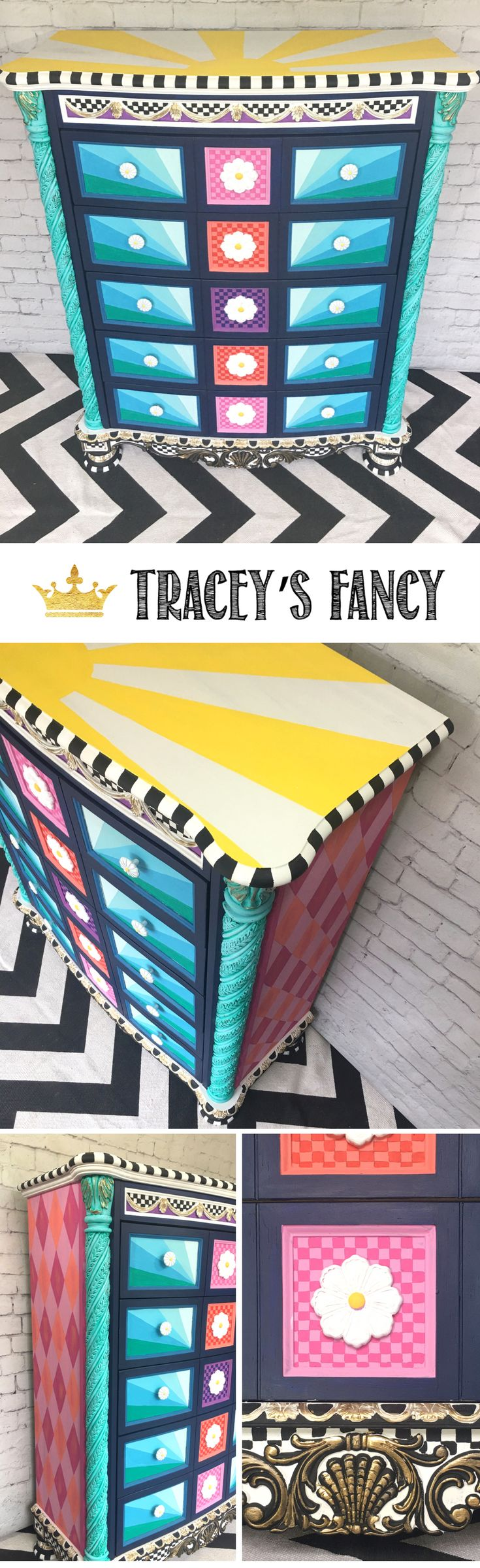 Colorful Dresser Feature Furniture for Girls Room | How to Paint Furniture + How to Add Stripes, Harlequins and checkerboards to Furniture + How to use colors in furniture pieces | Furniture Painting Tips and Painted Furniture Ideas by Tracey's Fancy