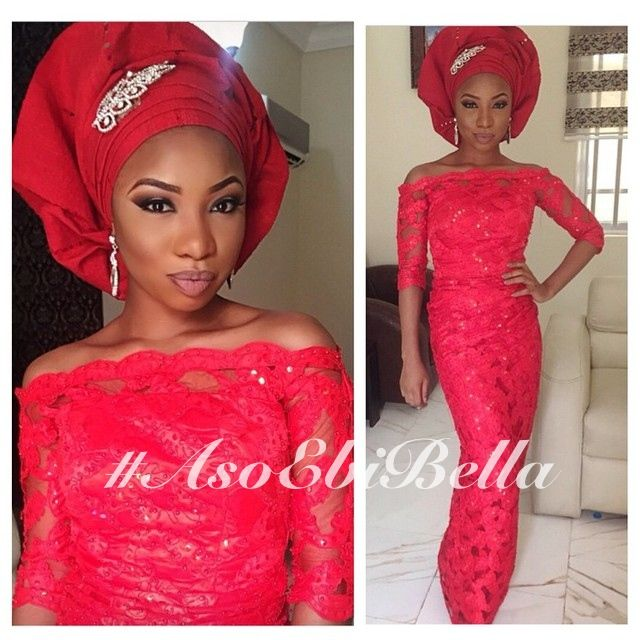 Red Off-Shouldered Lace Blouse & Wrapper & Red Gele