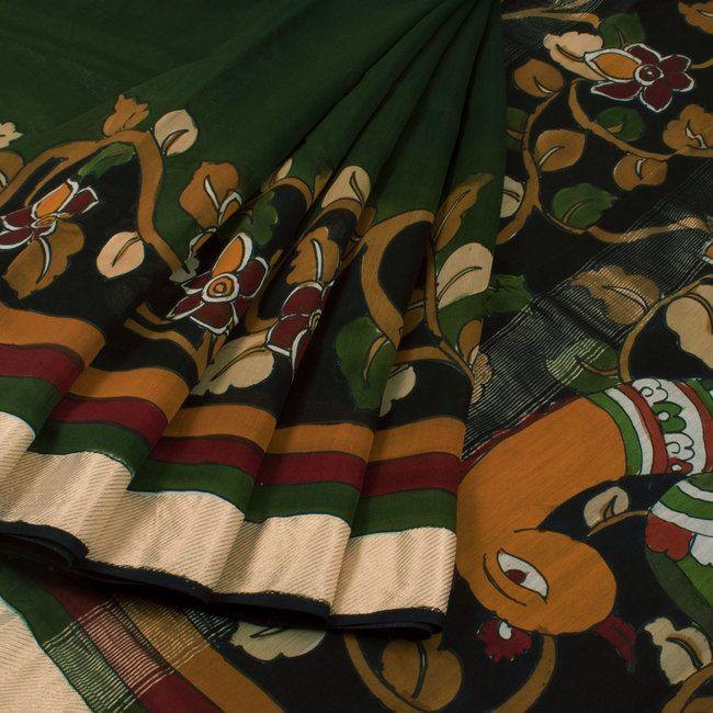 Hand Painted Pen Kalamkari Maheshwari silk Cotton Saree With Zari Border 10019448 - AVISHYA.COM