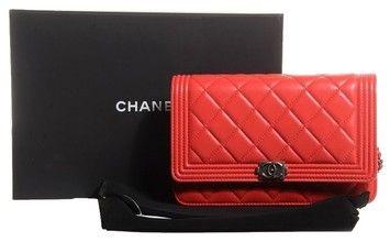 Chanel BRAND NEW 2015 RED BOY LAMBSKIN WALLET ON CHAIN W/ SILVER HARDWARE WOC
