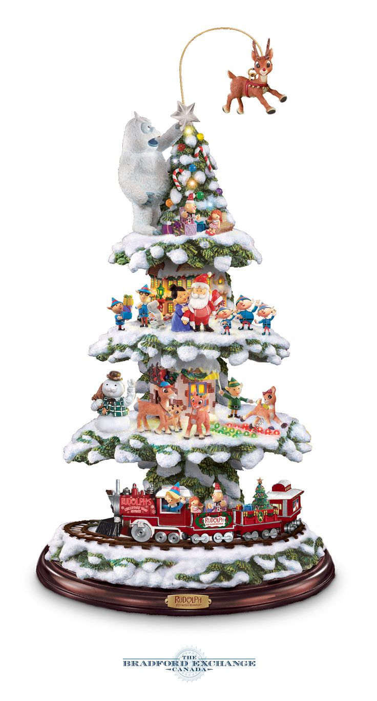 Kinkade christmas ornaments - Sculpted Hand Painted Tree With 25 Favourite Characters Moving Train Driven By Elf