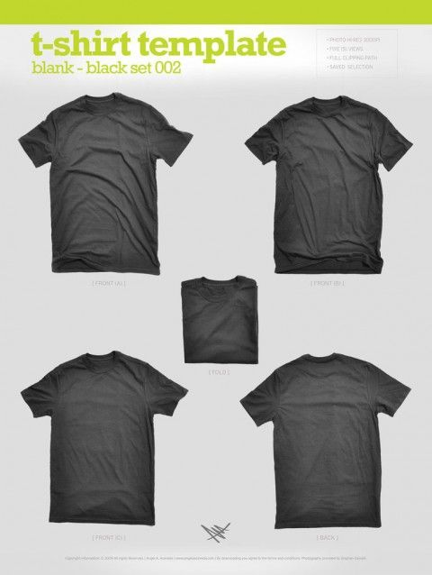 Free Templates For Busy Designer - Blank Black T-Shirt Mockups