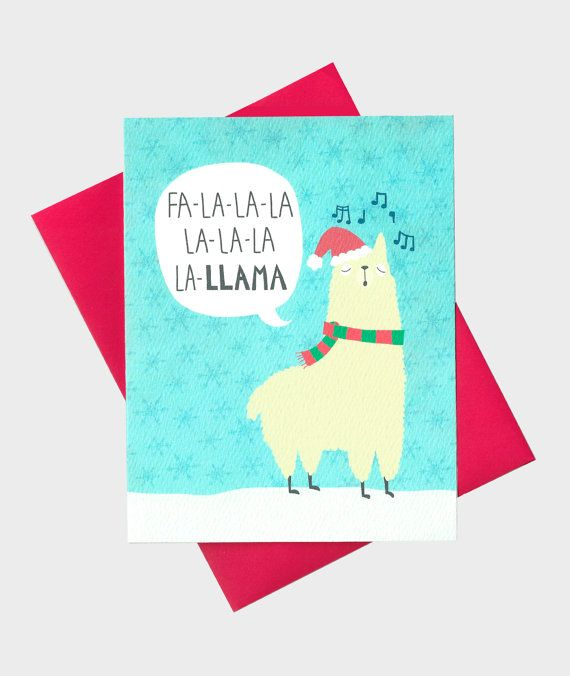 Funny Llama Christmas Card  Llama Holiday Card  by TurtlesSoup
