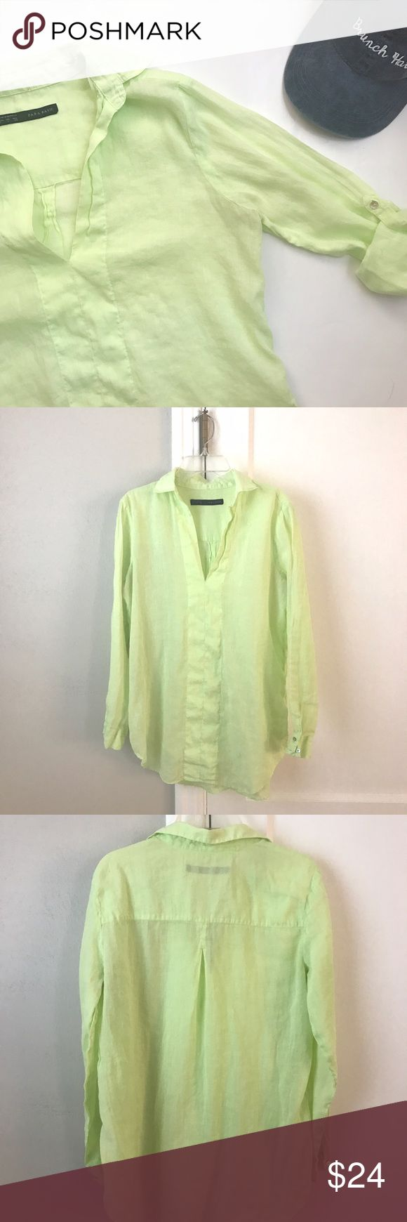 Zara | Light and Breezy Beach Tunic Beautiful collared tunic is light yellow/lime color. Perfect with white pants and wedges or as a swimsuit cover up! Thin and relaxed style featuring roll up sleeves. Size S from Zara. Slight wear shown in picture of v-neck. Other than that, excellent condition. Zara Tops Tunics